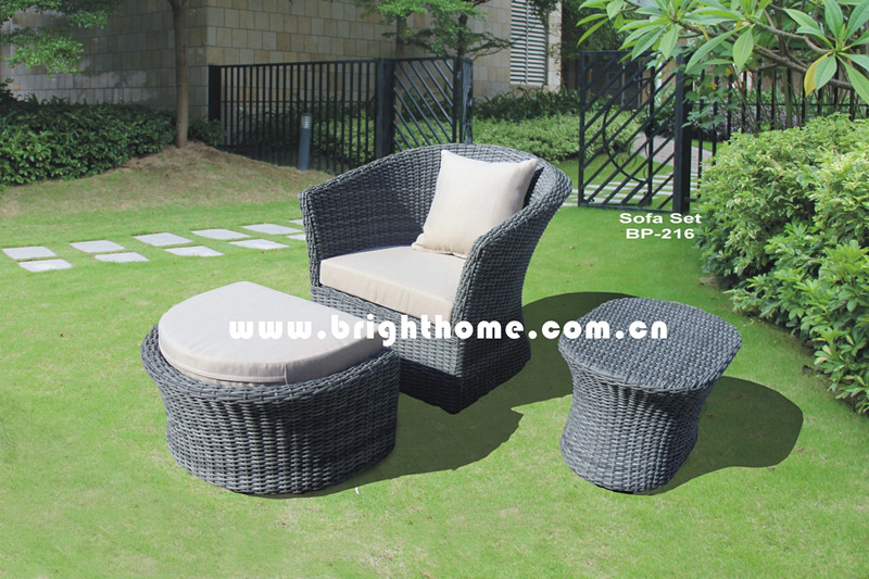 Leisure Garden Sofa with Stool Rattan Wicker Furniture Bp-216
