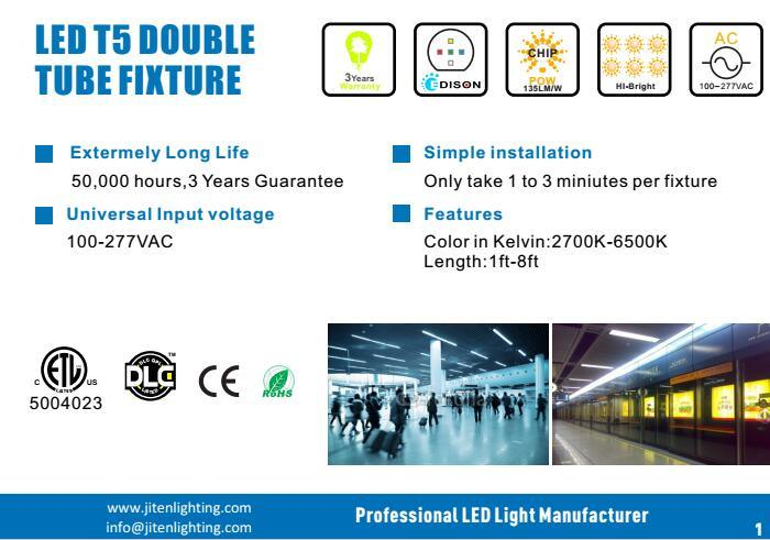 LED Hanging Tube Light Fixture T5 Double Tube Light with 3 Years Warranty