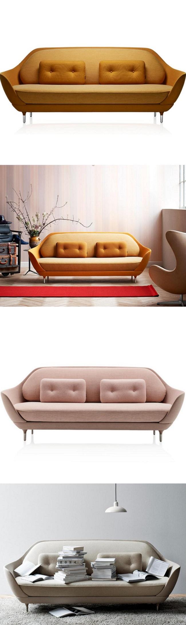 Nordic Simple Favn Sofa Coquille Sofa Multi Person Sofa Fabric Sofa