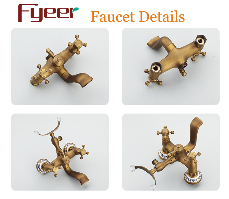 Fyeer Bathroom Antique Telephone Faucet Shower Mixer Kit