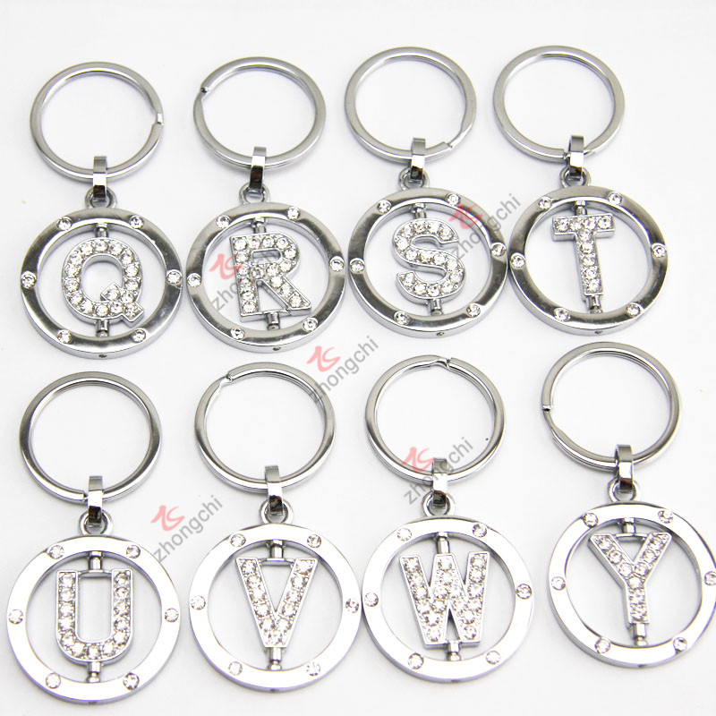 Crystal Round Silver Letter Keychain, Rotating Letter Rhinestone Metal Keychain