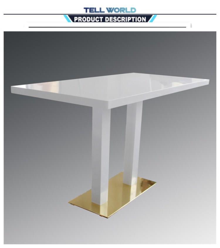 Modern Design White Gloss Corian Square Restaurant Coffee Hotel Dining Table