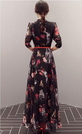 Spring Ladies Chiffon Printed Stand Collar Long Sweet Dress