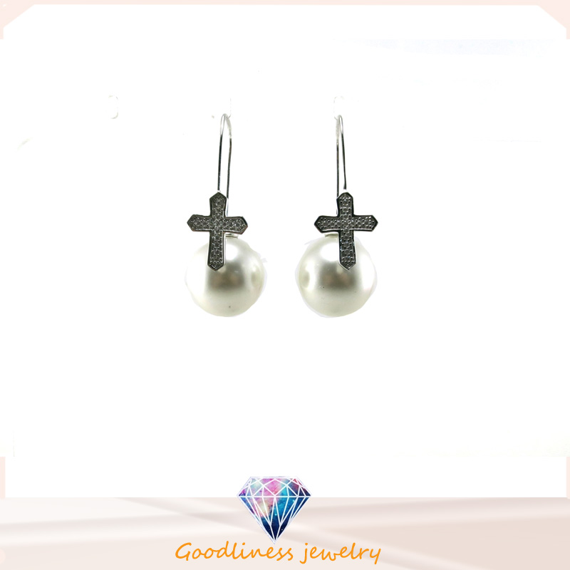 Wholesale Jewelry Pearl Style Woman's Fashion AAA CZ 925 Silver Earring (E6552)