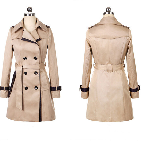 Women's Double Breasted Winter Outerwear Jacket Long Trench Coat (50071)