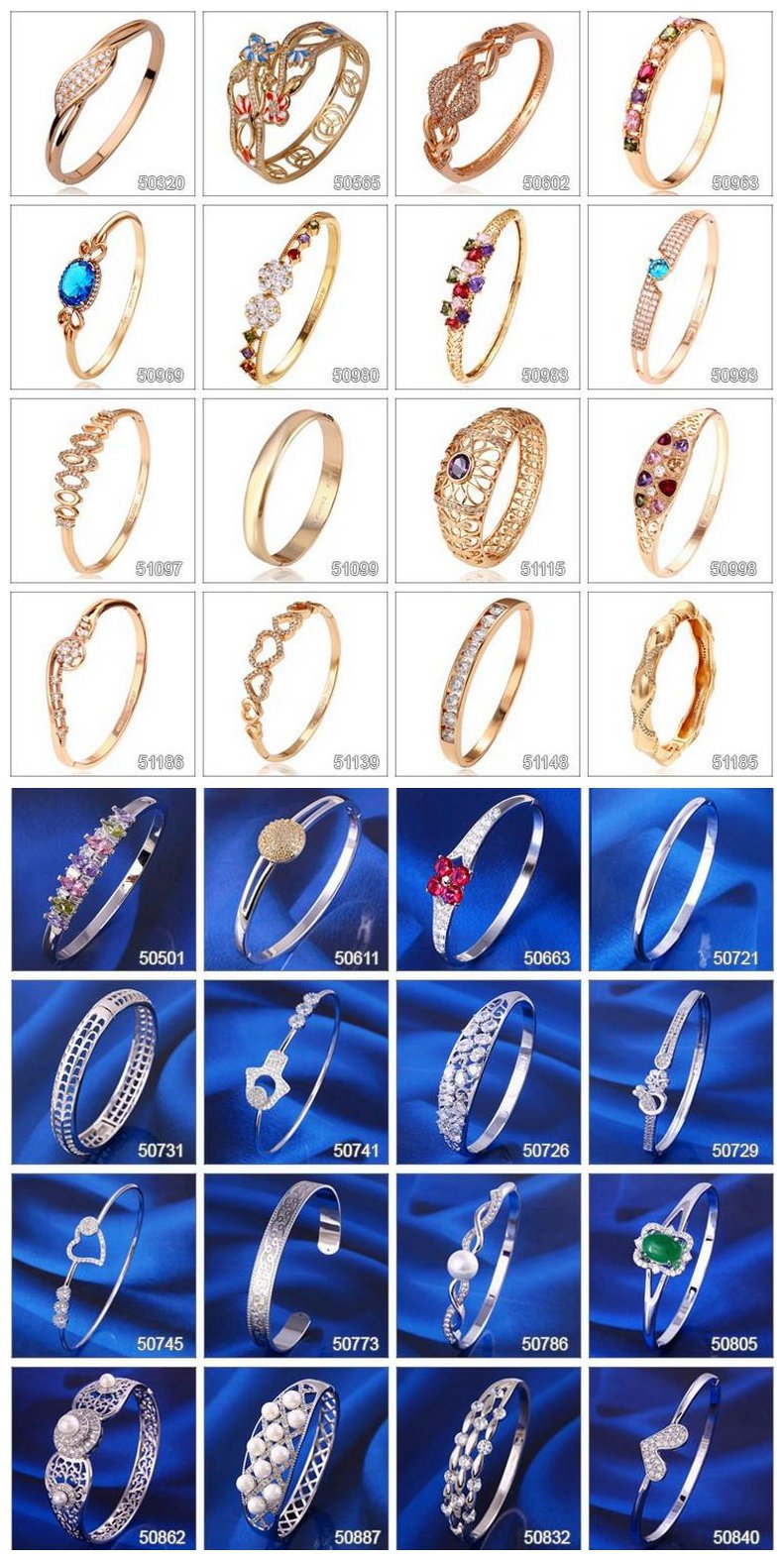 Bangle -63 Fashion Elegant Rhinestone Jewelry Ring Bangle in 24k Gold Color