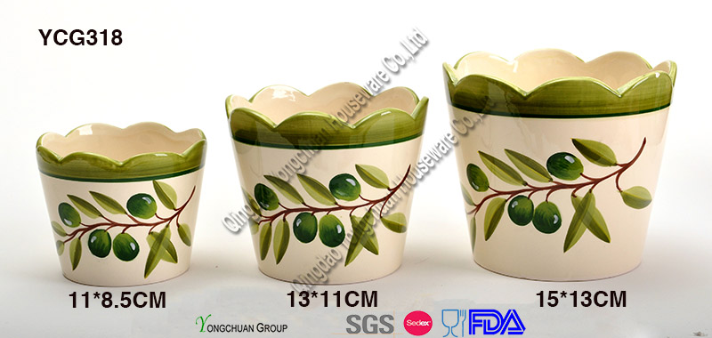 Customized Flower Pots with Decal for Wholesale