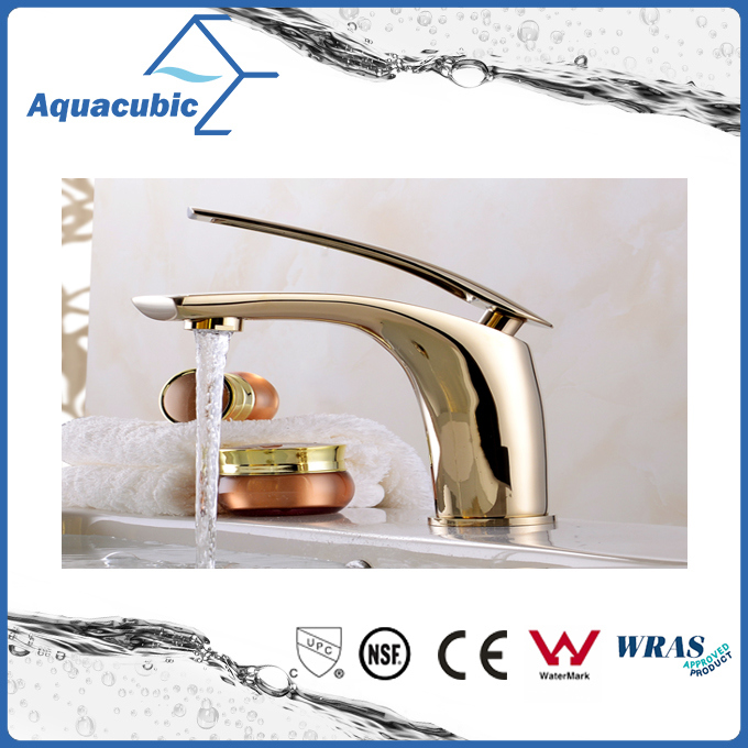 Polished Gold Brass Wash Basin Mixer Tap for The Bathroom
