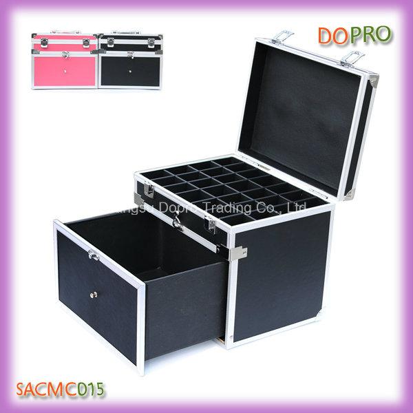 Black Handle Style Locking Aluminum Carrying Case for Nail Polish (SACMC015)