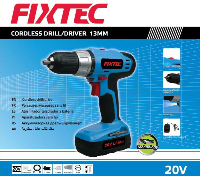 Fixtec 20V Li-ion Battery Cordless Drill Driver of 13mm Chuck Drill