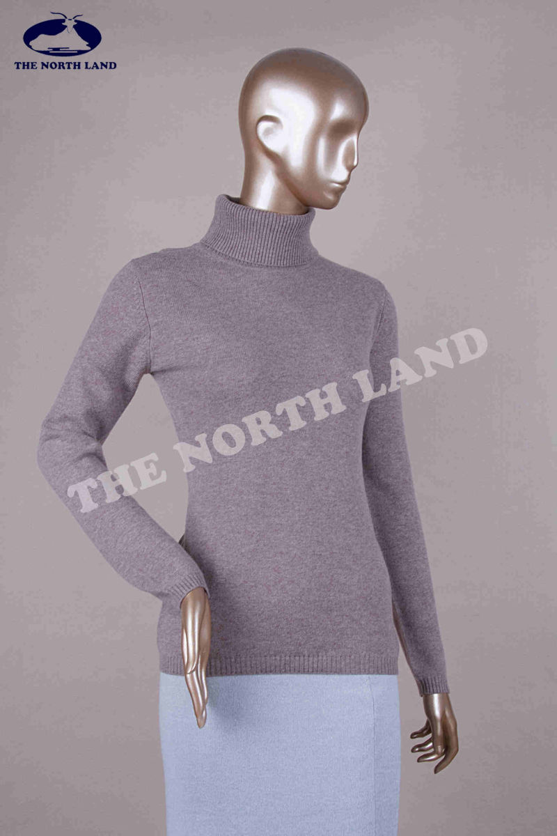 Ladies Cashmere Turtleneck Plain Knitted Pullover