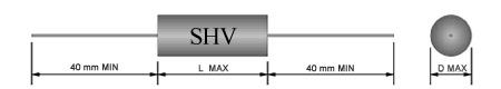 6 kV - 0,01 UF / 0,015 UF / 0,022 UF / 0,033 UF / 0,047 UF / 0,056 UF / 0,068 UF / 0,082 UF / 0,1 UF / 0,15 UF / 0,22 UF / 0,33 UF Filmkondensator