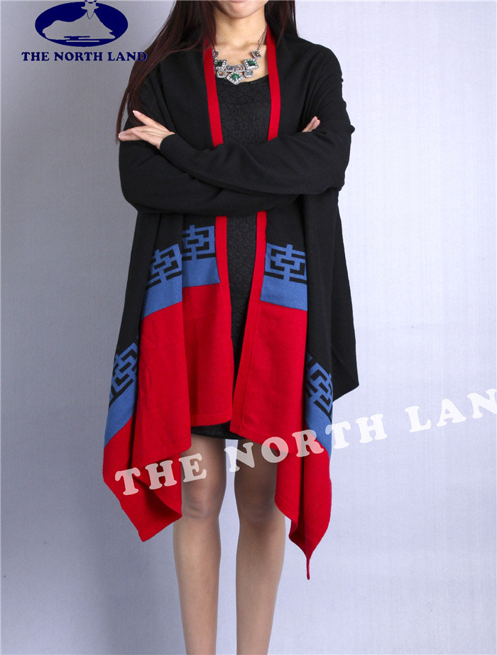 Cashmere Knitted Cardigan Shawl with Traditional Elements