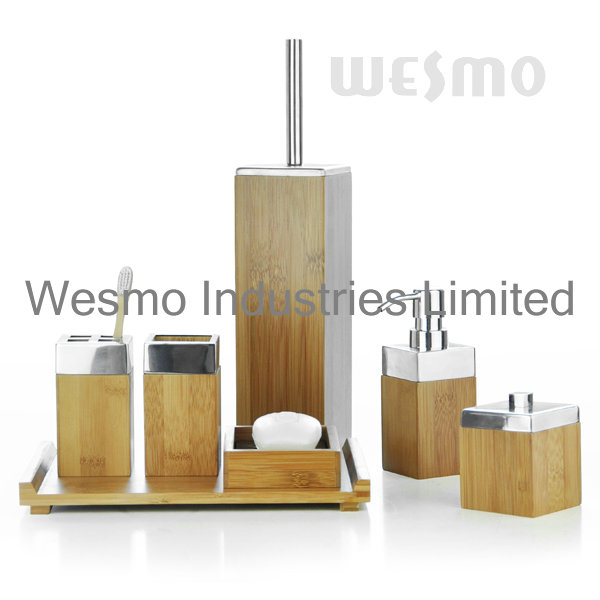 Bamboo Bath Set with Metal Top (WBB0304A)