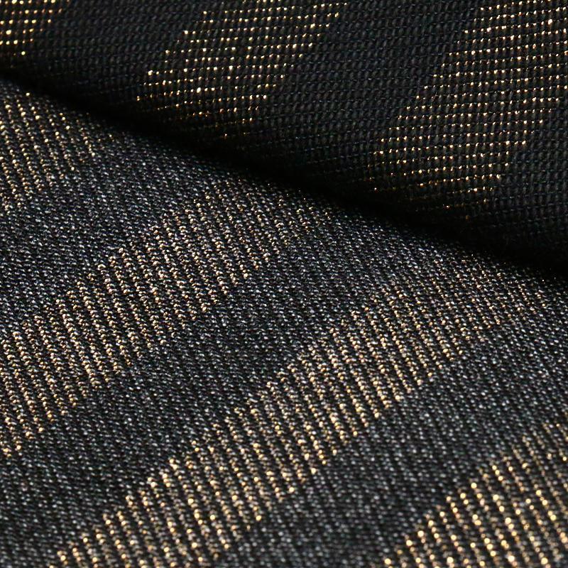 Gold Strip Cotton Viscose Polyester Spandex Denim Fabric
