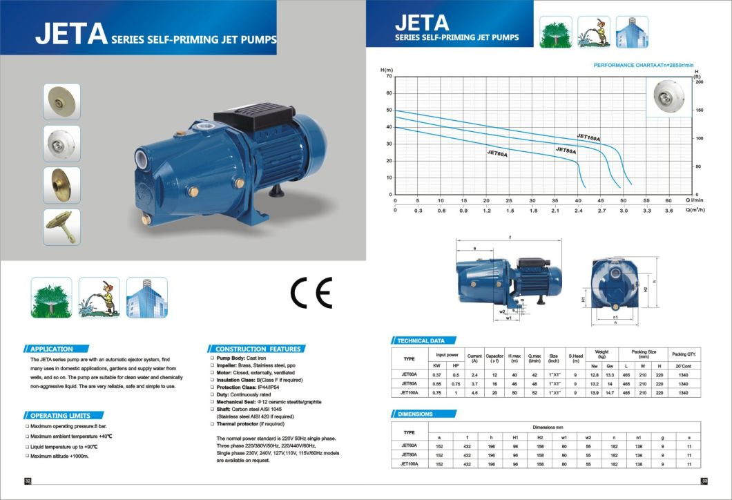 Jet-80A Jet Series AC Electric Jet Self-Priming Clean Water Pump