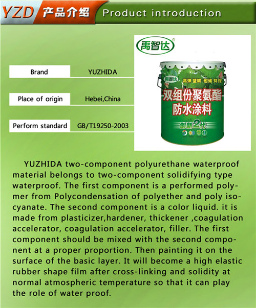 Two Component Polyurethane Waterproof Coating for Construction