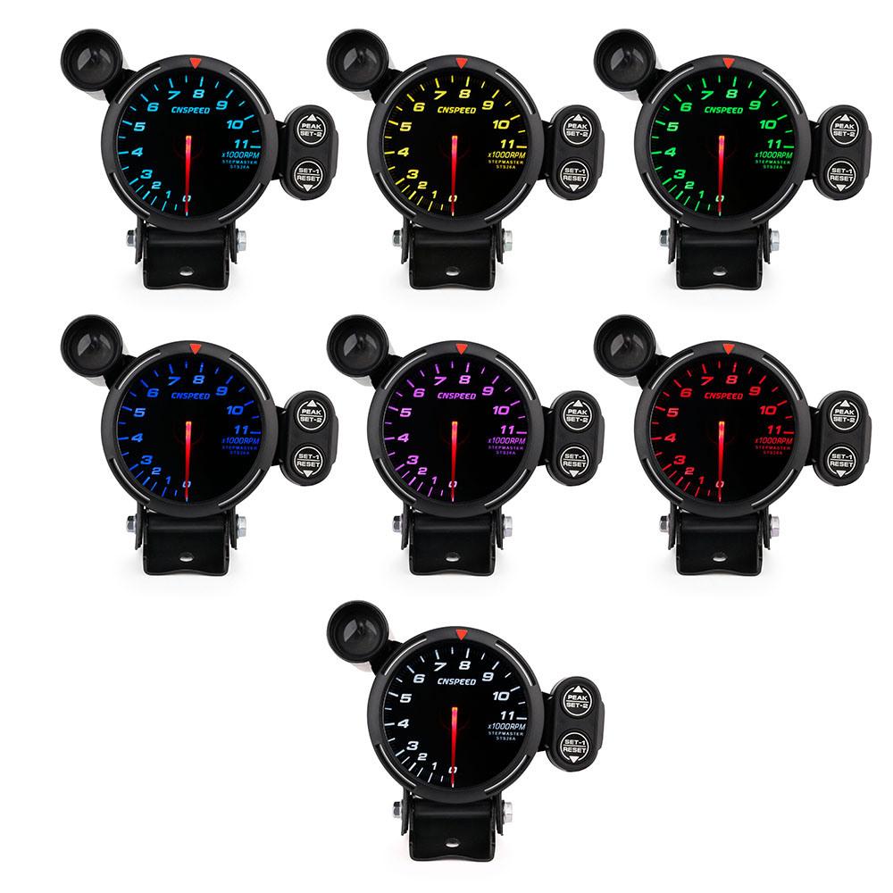 80mm High Speed Stepper Motor 7 Colors 0-11000 Tachometer Rpm Gauge