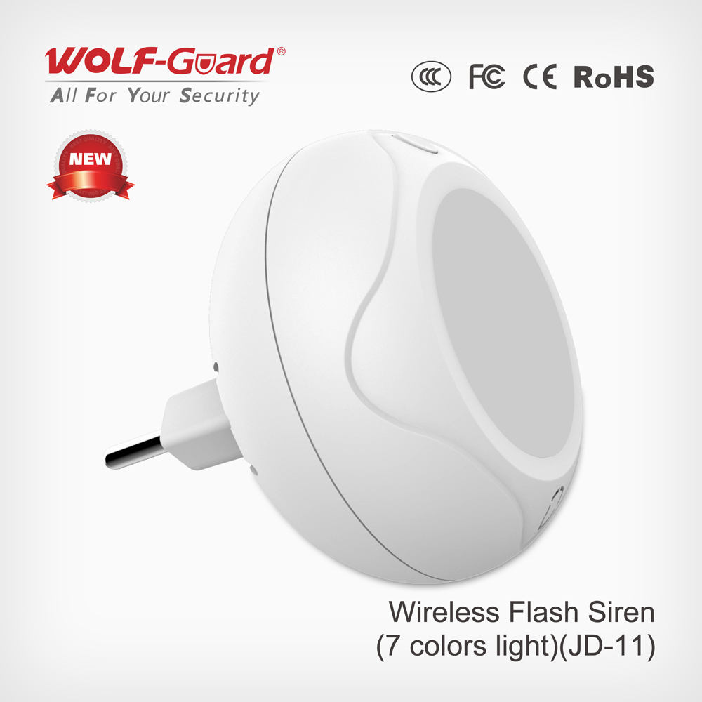 Wolf-Guard Jd-11 Wireless Indoor Strobe Siren Alarm 433MHz Control Standalone Sound and Flash Light Siren with 80dB Alarming