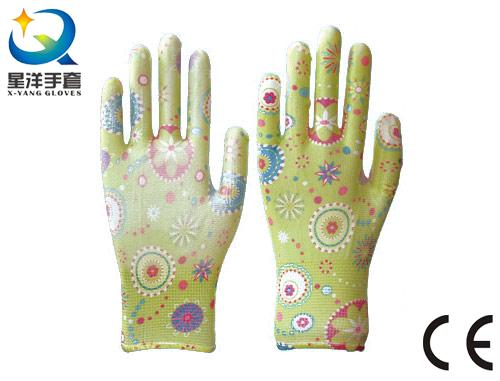 Garden Gloves, Printing Polyestershell Transparent Nitrile Coated Smooth Finish, Safety Work Gloves with Ce, En388 (N6047)