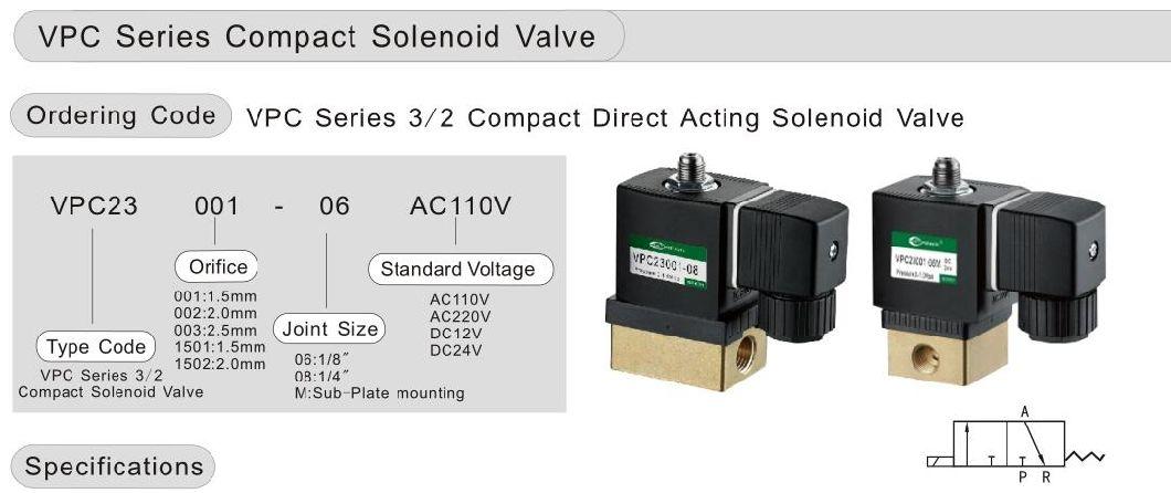 Vpc23001-06 3/2 Way Compact Direct Acting Solenoid Valve