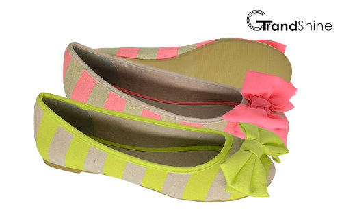 Women's Stripe Printed Canvas with Bow Flat Ballet Shoes