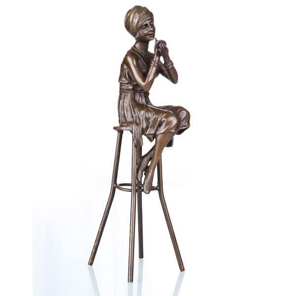 Female Indoor Home Decor Bronze Sculpture Lady Carving Brass Statue TPE-468