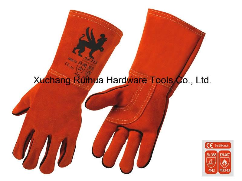 35cm/40cm Red Cowhide Split Leather Lined Welding Gloves, Kevlar Stitched Welding Gloves, Safety Welding Gloves, Long Leather Working Gloves for Welder Use
