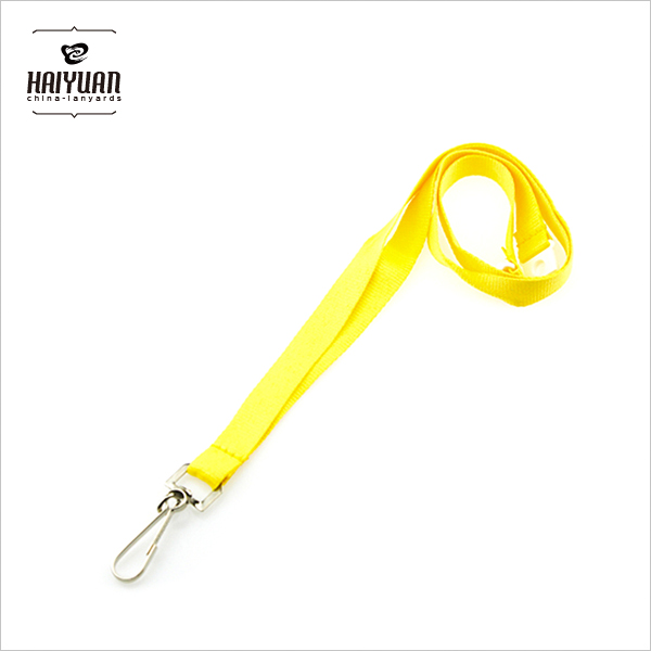 Customized Yellow Color Blank Polyester Lanyard with Metal Hook