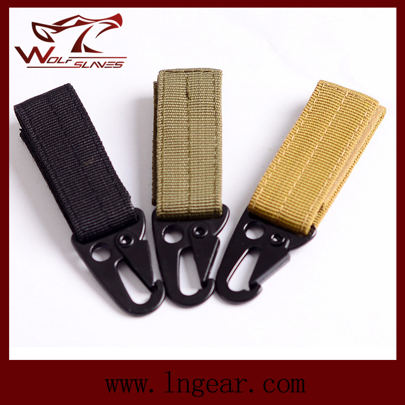 Tactical Molle Key Military Climbing Button Chain Practical Key Buckle Black