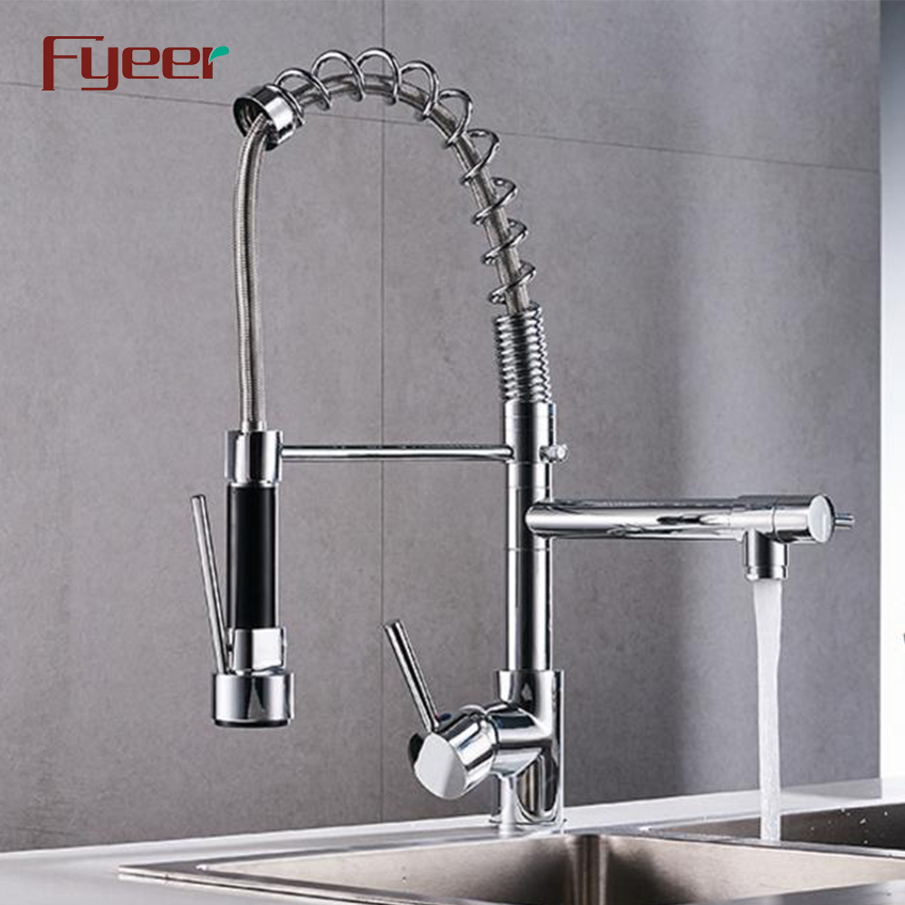 Fyeer Brass Chrome Plated Kitchen Sink Faucet with Pull Down Spray