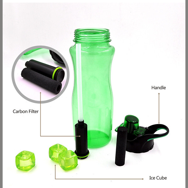 800ml Best Seller Recycle Carbon Filter Water Bottle, BPA Free Sports Water Bottle