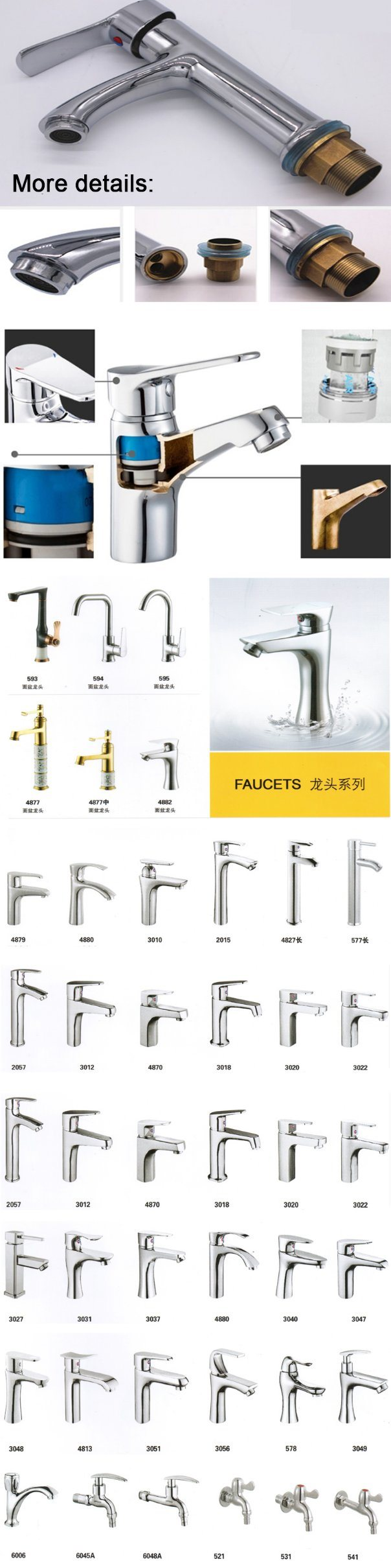 High Quality Single Handle Deck Mounted Brass Basin Faucet