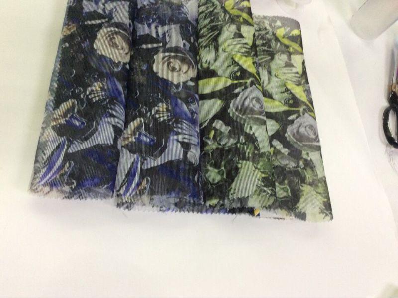 Striped Organza Flower-Printed Garment Fabric