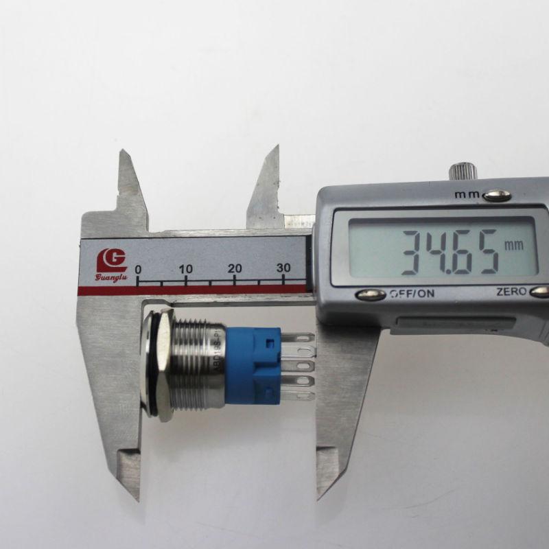 19mm Ring Type LED Latching Metal Push Button
