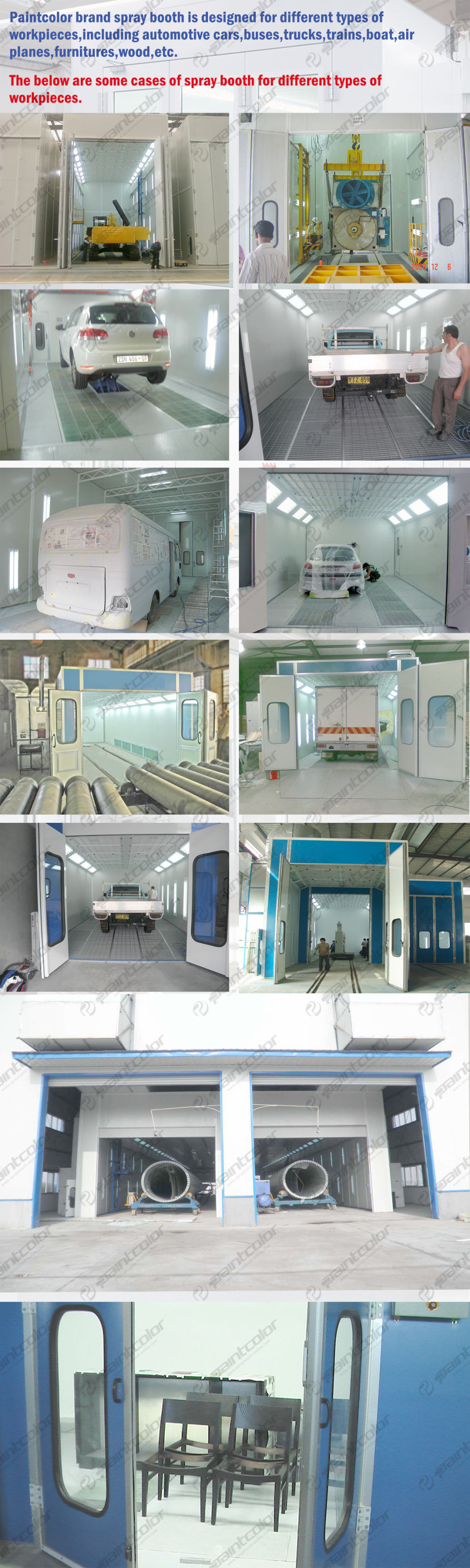 Vehicle Paint Booth with Air Ventilation Through Back Side Wall No Basement