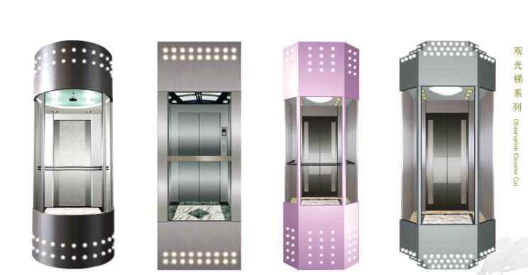 1m/S Small Machine Room Panoramic Lift with 6/6 Stop