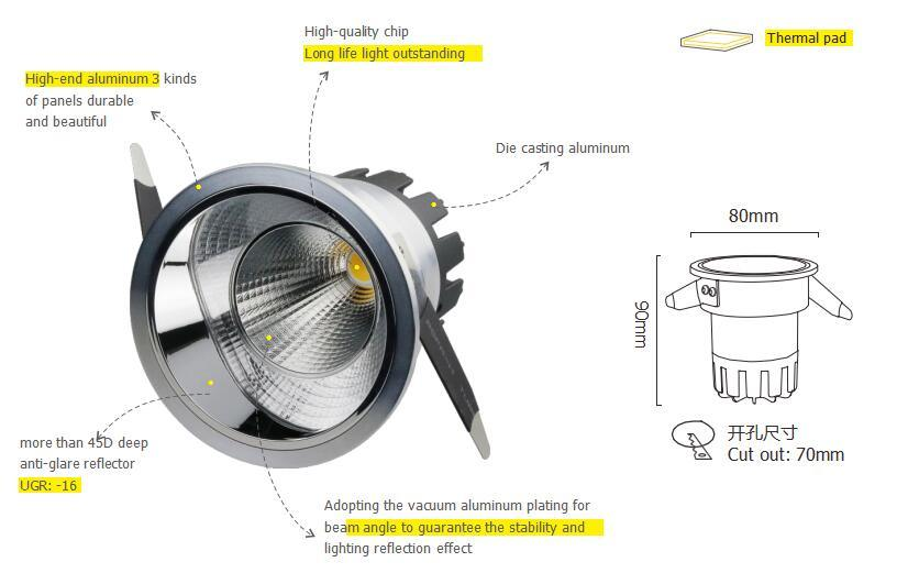 Anti Glare 7W COB LED Downlight for Hotel Dimmable