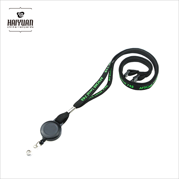 Military Army Air Force Black Tubular Polyester Lanyards with Black Badge Yoyo