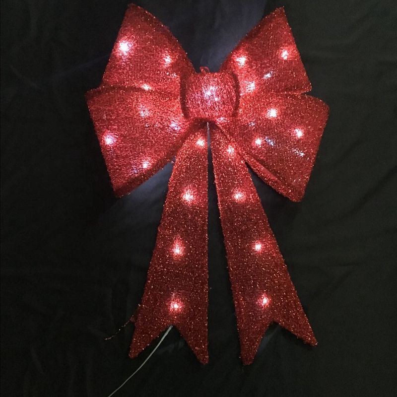 Gold Glitter LED Bow with PVC Backing