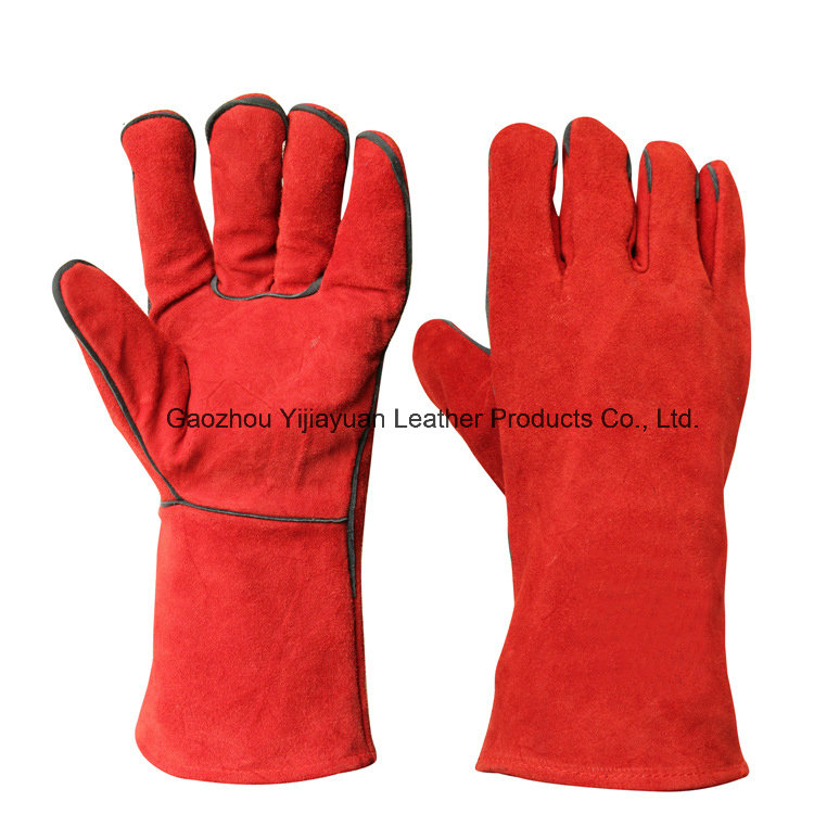 Red Heat Resistant Safety Leather Work Welding Hand Protective Gloves
