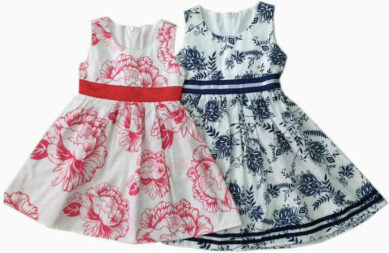 Fashion Flower Baby Dress in Froks with Transfer Printing