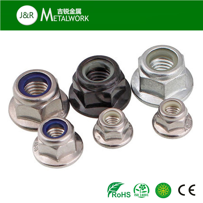 A2 A4 Stainless Steel Hex Flange Nylon Lock Nut (SS304 SS316)