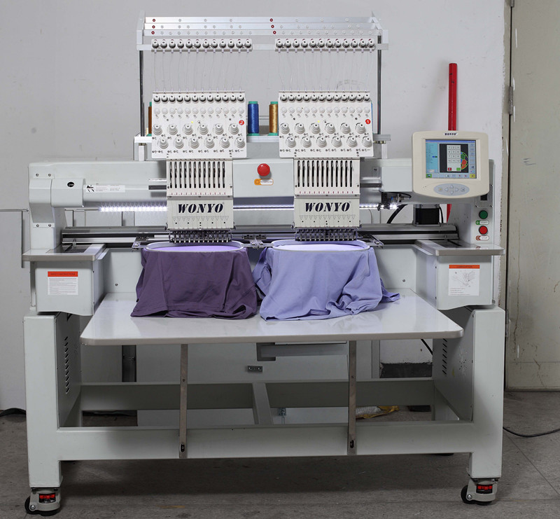 Computer Embroidery Machine 2 Heads 12 Colors T-Shirt Embroidery Machine