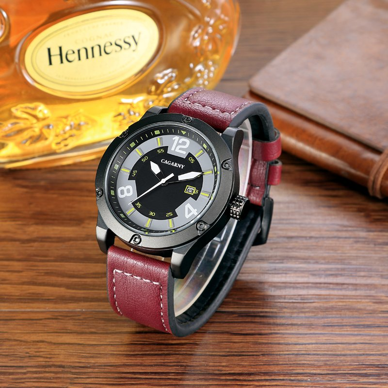 6869 Mens Wristwatch at Size 48mm, Metal Case Leather Strap Ss Buckle IP Black Plated