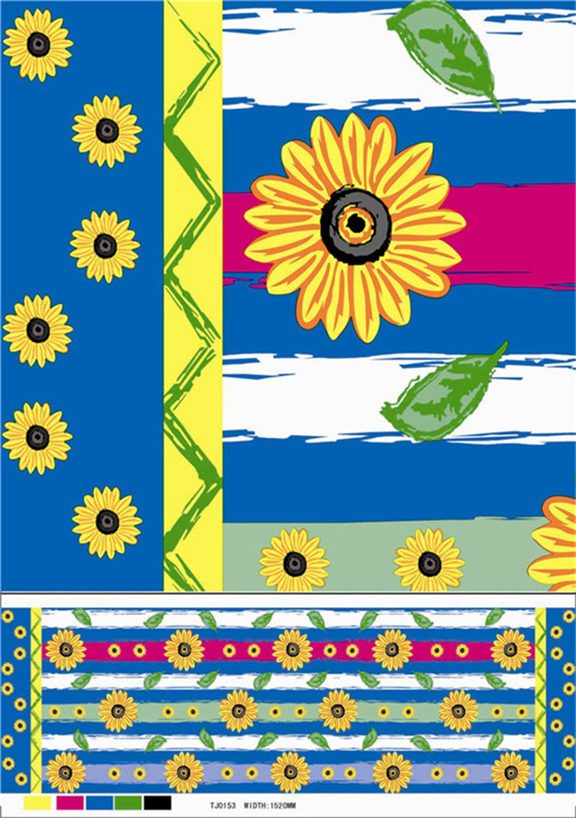 Cheap Non-Woven Fabric Backing Plastic PVC Colorful Printed Tablecloth (TJ0356)