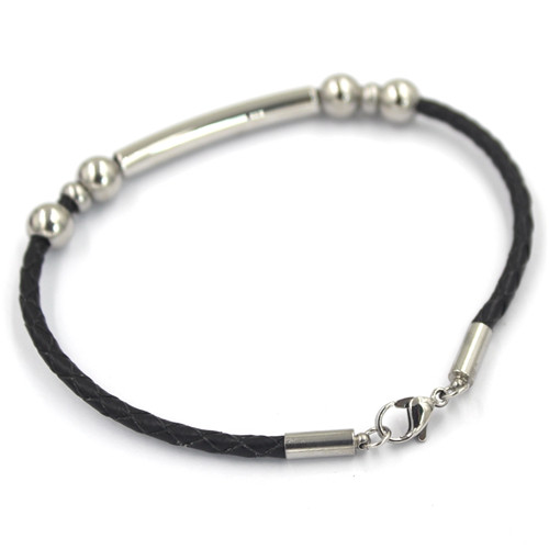 Fashion Jewelry Stainless Steel Large 8 Word Leather Rope Bracelet