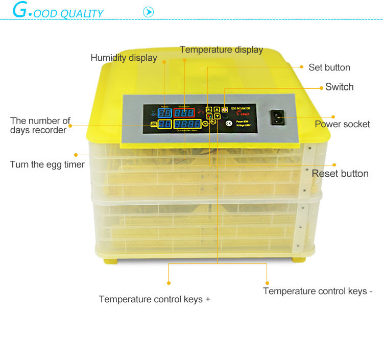 Hhd 96 Eggs Full Automatic Small Egg Incubator for Sale Ce Approved