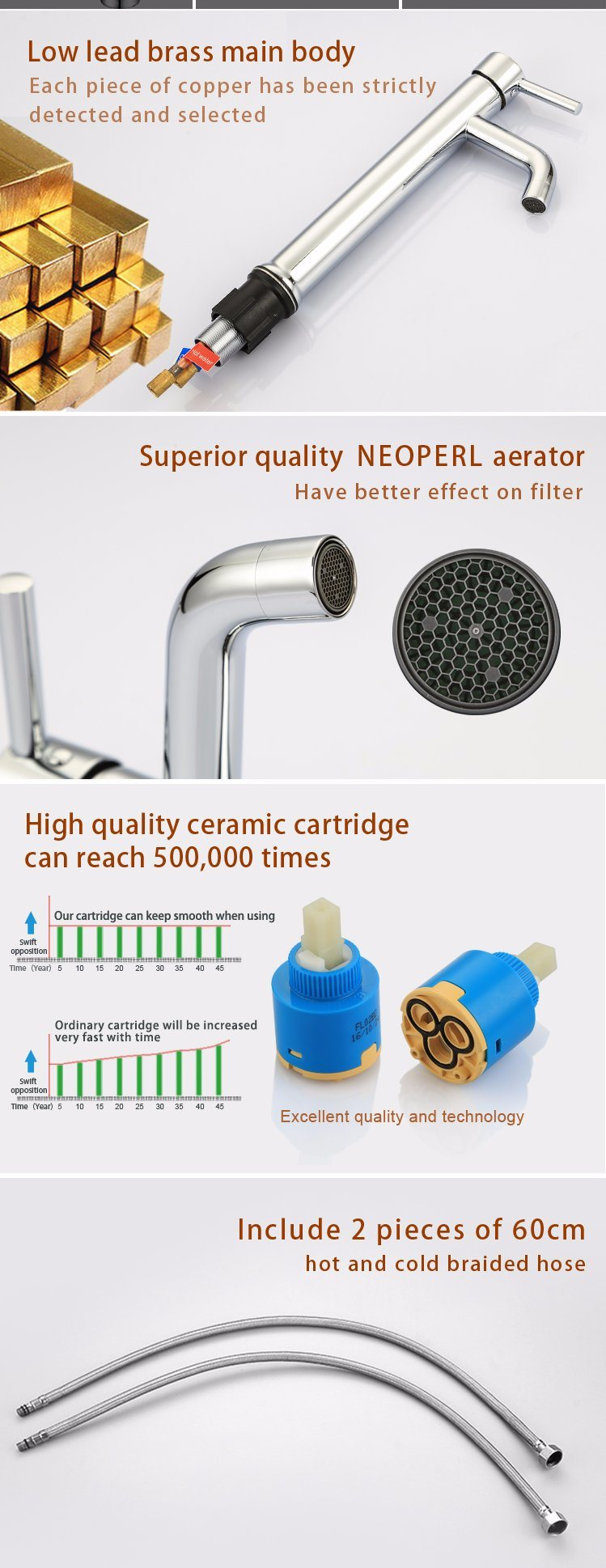 High End Chrome Bathroom Faucet, Bathroom Accessories Brass for Wholesale