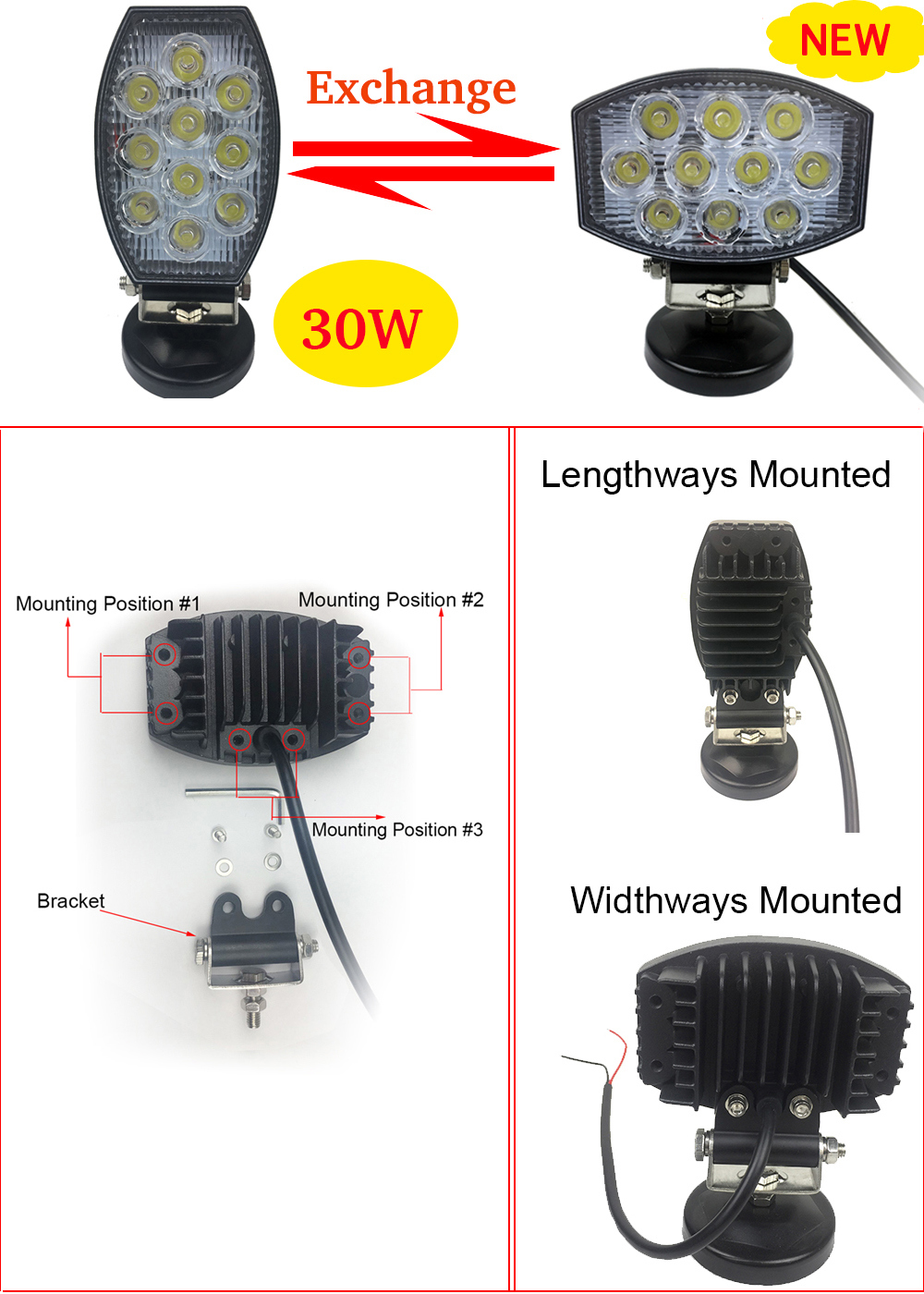 New 4inch 30W LED Work Light LED Fog Light LED Driving Light LED Spotlight Floodlight